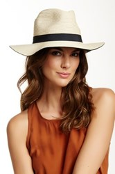 David And Young Colored Brim Panama Straw Hat Black