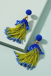 Anthropologie Beaded Double Tassel Drop Earrings Lime