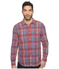 Lucky Brand Mason Workwear Shirt Red Blue Men's Clothing
