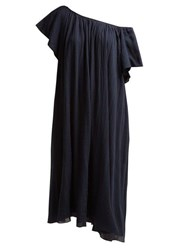 Loup Charmant Hydrus Off The Shoulder Cotton Dress Navy