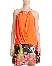 Trina Turk Bria Draped Silk Halter Top Pop Art