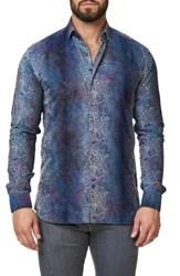 Maceoo Men's Embroidered Trim Fit Sport Shirt Blue
