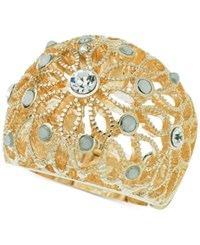 Guess Gold Tone Stone And Filigree Stretch Ring