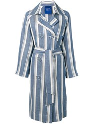 Simon Miller Striped Trench Coat Blue