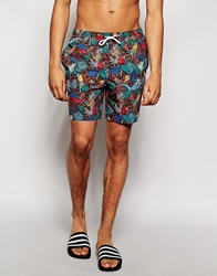 Asos Swim Shorts In Mid Length With Floral Brown