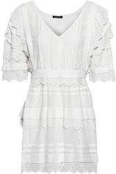 Love Sam Woman Pintucked Embroidered Striped Seersucker Cotton Mini Dress White