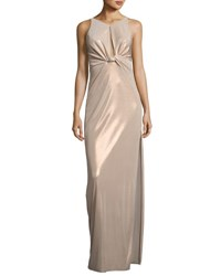 Halston Sleeveless Knot Front Jersey Gown Metallic Champagne Metallic Chmpn