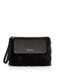 Karen Millen Faux Fur Clutch Black