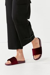 Urban Outfitters Uo Quilted Velvet Pool Slide Maroon