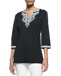 Joan Vass 3 4 Sleeve Embroidered Tunic Petite Black White