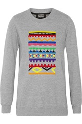Markus Lupfer Anna Sequin And Bead Embellished Cotton Sweater Gray