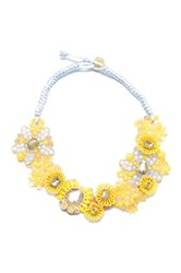 Zenzii Floral And Fabulous Statement Necklace Yellow