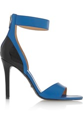 Schutz Smooth And Patent Leather Sandals Blue