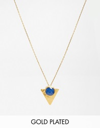 Ottoman Hands Bauhaus Triangle Drop Necklace Bluechalcedony