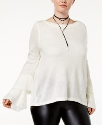 Almost Famous Trendy Plus Size Tiered Bell Sleeve Sweater Ivory