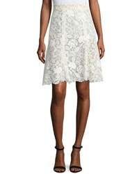 Monique Lhuillier Floral Guipure Lace Knee Length Skirt White