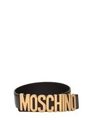 Moschino Logo Leather Belt Black
