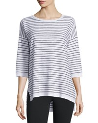 Eileen Fisher Slub Striped Linen Cotton Tunic White Women's
