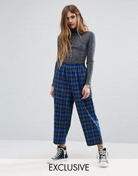 Reclaimed Vintage High Waisted Trousers With Drop Crotch In Check Blue