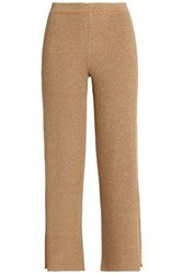 Missoni Cropped Metallic Crochet Knit Straight Leg Pants Camel