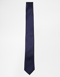 French Connection Plain Slim Tie Blue