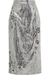 Erdem Sacha Embellished Sequined Georgette Skirt Silver
