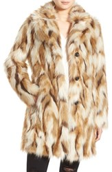 7 For All Mankindr Women's Mankind Faux Fur Coat Taupe Multi