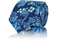 Barneys New York Paisley Silk Satin Necktie Lt. Blue