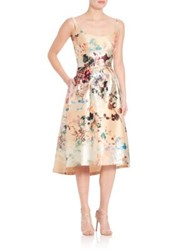 Laundry By Shelli Segal Platinum Sleeveless Floral Dress Cream Multi