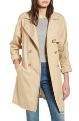 'S Bp. Double Breasted Belted Trench Coat Beige Nougat
