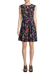 Gabby Skye Floral Fit And Flare Dress Navy
