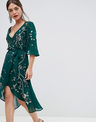 Frock And Frill 3 4 Sleeve Wrap Midi Dress With Embellished Detail Green