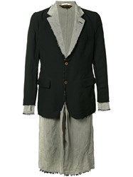 Comme Des Garcons Homme Plus Raw Layered Blazer Men Linen Flax Polyester Xl Black