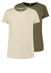 Urban Classics 2 Pack Basic Tshirt Olive Sand Multicoloured
