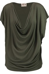 Haute Hippie Draped Modal Top Army Green