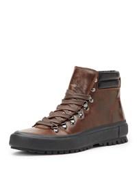 Frye Ryan Lug Sole High Top Hiking Sneakers Brown Red