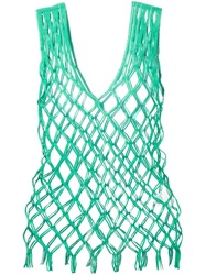 Issey Miyake Vintage Fishnet Sleeveless Top Green