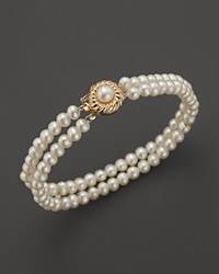 Bloomingdale's Cultured Freshwater Pearl Two Row Bracelet In 14K Yellow Gold Gold White