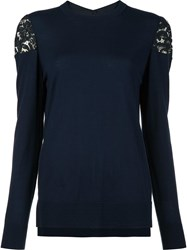 Adam By Adam Lippes Lace Shoulder Jumper Blue