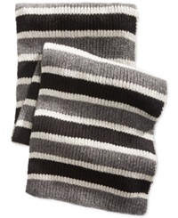 Nautica Tri Colored Striped Scarf Granite Heather Grey Heather Black