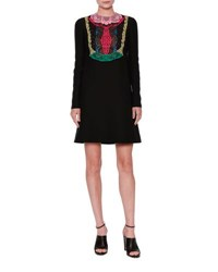 Valentino Long Sleeve Lace Bib Dress Black Multi