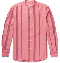 Eidos Slim Fit Grandad Collar Striped Cotton And Silk Blend Shirt Red