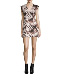 Halston Heritage Cap Sleeve Fit And Flare Printed Dress Black Wisp Size 4