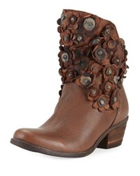 Sheridan Mia Flowered Leather High Low Bootie Brown
