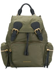 Burberry Medium Rucksack In Technical Nylon And Leather Green