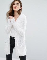 Only Soft Pop Feather Open Cardigan Cloud Dancer White