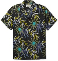 Wacko Maria Camp Collar Printed Poplin Shirt Black