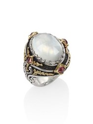 Konstantino Nemesis Mother Of Pearl Pink Tourmaline And 18K Yellow Gold Ring Silver