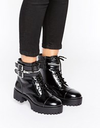 Park Lane Chunky Punk Boot Black Box Leather