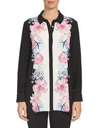 Cece Long Sleeve Floral Tunic Black